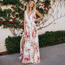 Sleeveless White Floral Print Long Summer Dress Simple Boho Beach Sundress Sexy V Neck Split Women Belt Maxi Holiday Dress random floral print round neck sleeveless dress in white