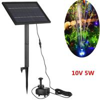 10V 5W Solar Fountain with LED Light Outdoor Solar Water Fountain Pump Yard Garden Decoration