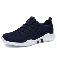brand Mens Casual shoes Lightweight male sneakers Breathable mesh adult Fashion flat Footwear Zapatillas Hombre Big size 39 46