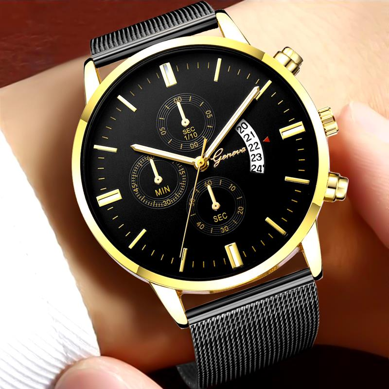 Fashion Geneva Watch For Men Luxury Mesh Band Stainless Steel Analog Date Quartz Wristwatch Male Sport Watches Silver Gold