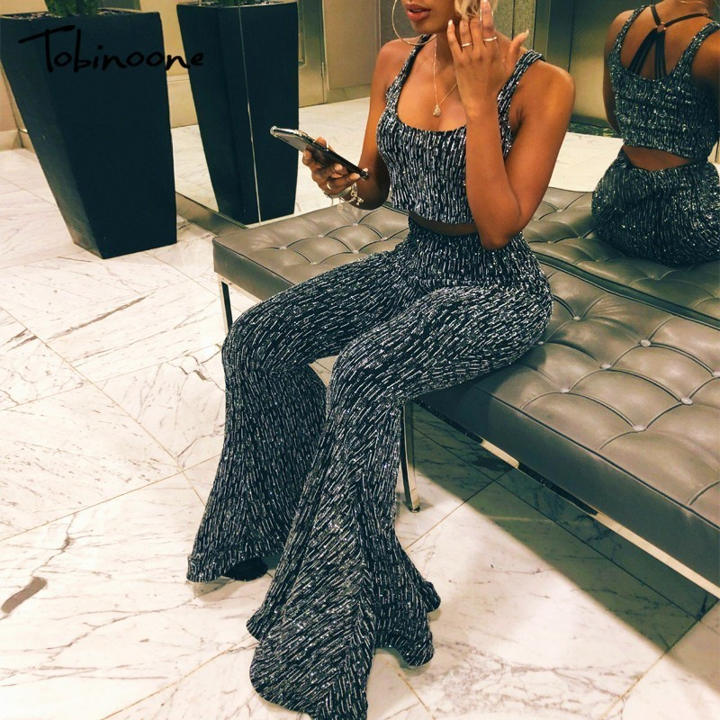 Tobinoone Elegant off shoulder women long jumpsuit Summer ruffles two piece black jumpsuit Sexy party wide leg female overall
