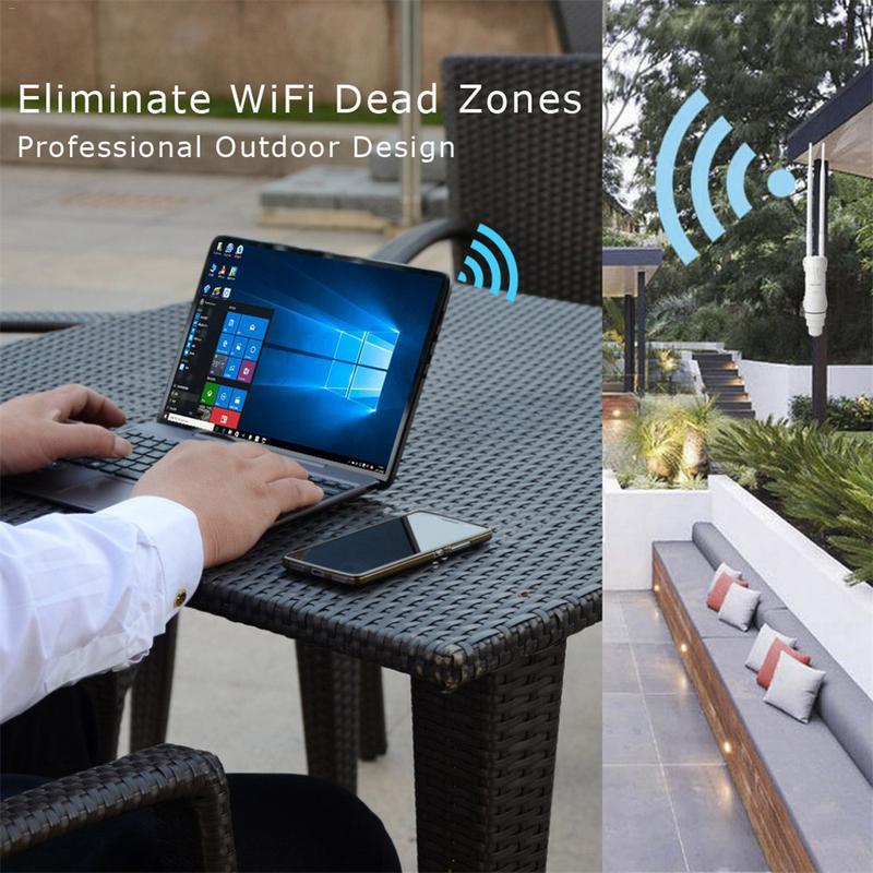 Al aire libre a prueba de intemperie CPE/Wifi extensor/punto de acceso/Router/WISP de alta potencia Dual antena WIFI Router pasiva POE 2,4 GHz, 5 GHz - 4