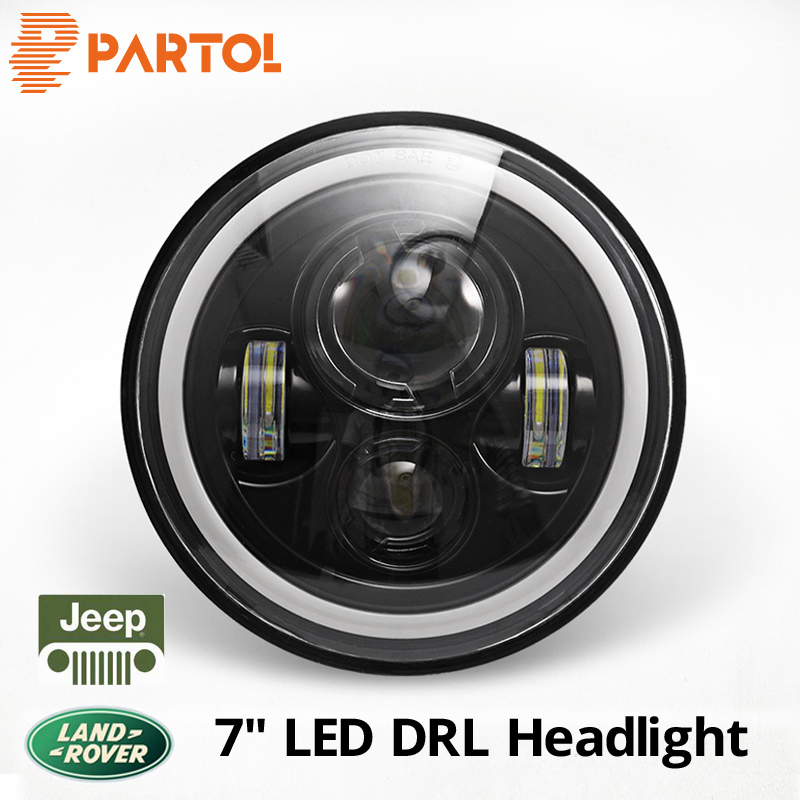 Partol 7 pouce LED Phare DRL Halo Angle Yeux Led Projecteur 12 v Pour Jeep Wrangler TJ JK LJ illimité 1997 1998 1999 2000-2015