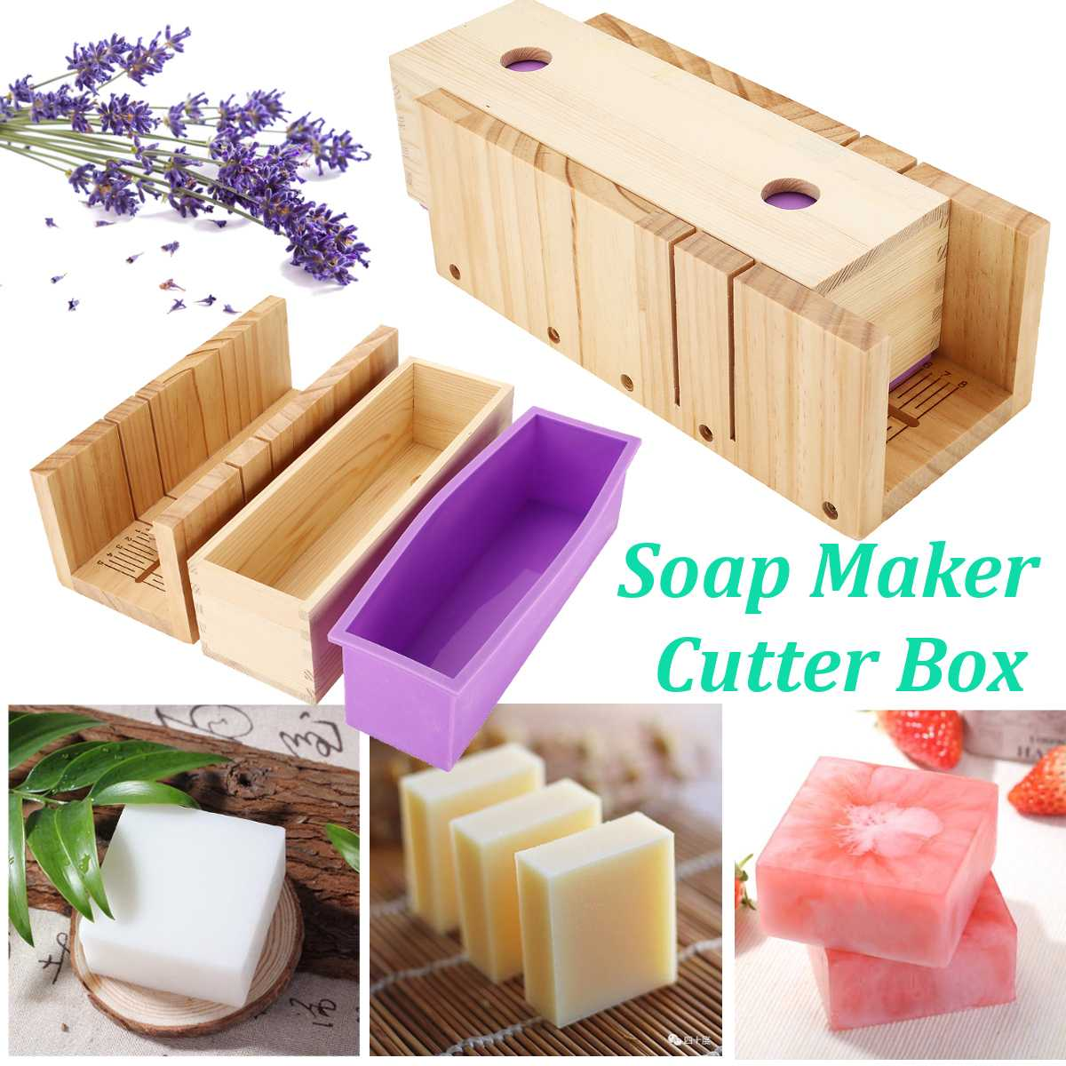 Soap Cutting Tools Set Adjustable Wood Loaf Cutter Box DIY Handmade Soap Making Supplies With Scale And Slotting Soap Cutter