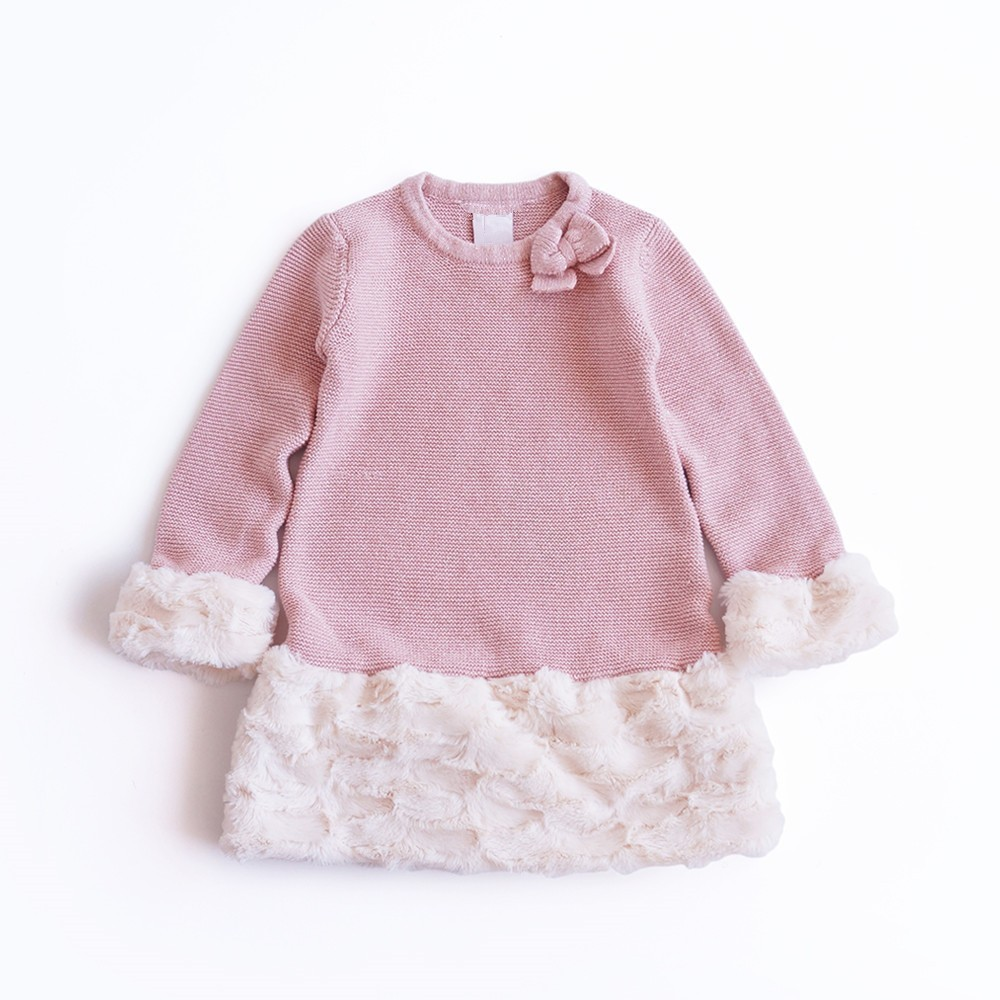1845 Autumn Baby Sweater For Girl sweater patchwork fur Knitting pink bow Kids Dresses For Girls Princess Dress Kids Clothes