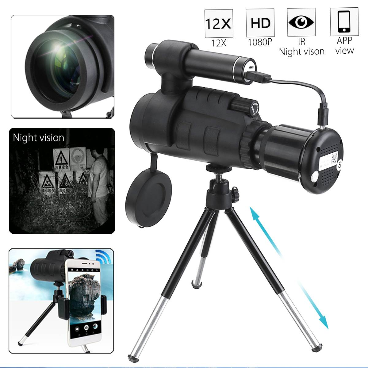 40x60 WIFI HD IR Infrared Night Vision Optical Monocular Telescope for Hunting Camping Adjustable Tripod Holder