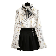 2019 Spring New Design Women Sweet Floral Chiffon Blouse Top & Pleated Skirts Two-Piece Outfit Print Bow Shirt
