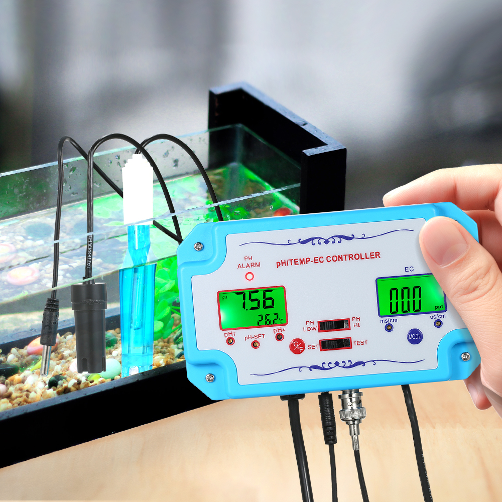 3 in 1 pH EC TEMP Water Quality Detector pH Controller Relay Plug Repleaceable Electrode BNC