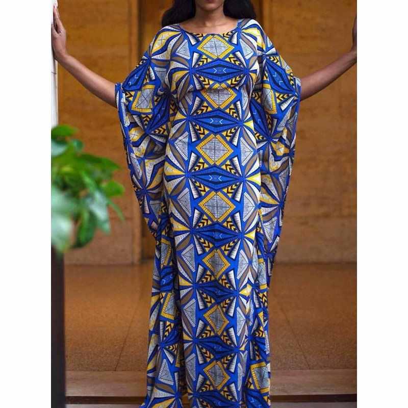 Thời trang In Cộng Với Kích Thước Đảng Dài Ăn Mặc Mùa Hè Màu Xanh Thanh Lịch Sexy Bodycon Áo Choàng Cánh Dơi Tay Áo Kích Thước Lớn Dresses Phi Nữ