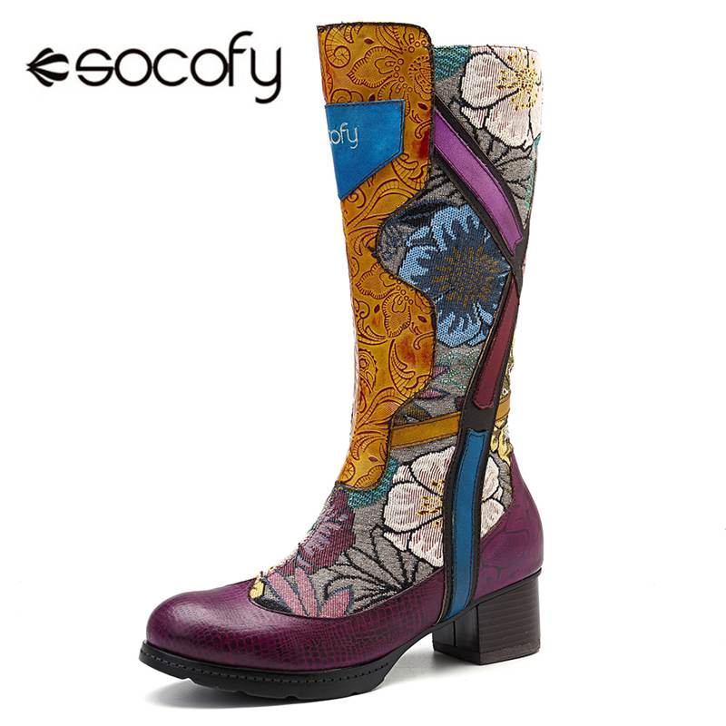 Socofy Fashion Retro Mid-calf Boots Women Genuine Leather Printed Flower Winter Boots Women Shoes Woman Zipper Block Heels BotasSocofy Fashion Retro Mid-calf Boots Women Genuine Leather Printed Flower Winter Boots Women Shoes Woman Zipper Block Heels Botas