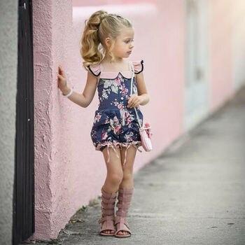 1-5T księżniczka dzieci dziecko dziewczyna kwiat wzburzyć Romper Floral kombinezon strój kąpielowy piękne dziewczyny ubrania hurtownie