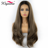Heat Resistant Fiber Synthetic Lace Front Wigs For Women Ombred Brown Wig Woman Wigs Cosplay Women's Wig Long Natural Wave