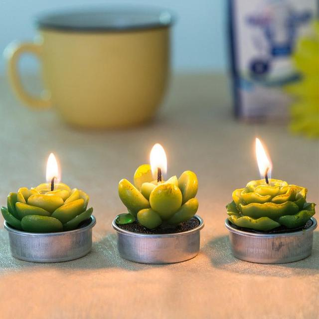 12Pcs New 3D Cactus Candles Creative Home Decoration Simulated Plants Smokeless Scented Candle Valentine Day Gift Party Ornament 3