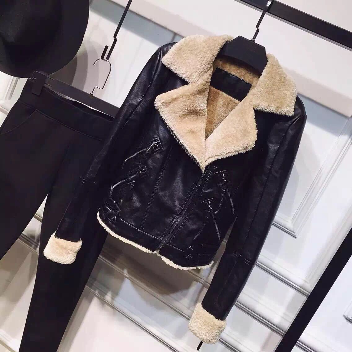 Fashion Faux Lamb PU   Leather   Jacket Autumn Winter Women Warm Thick Lambs Coats Casual Wool Fur Collar Crop Motorcycle Outerwear