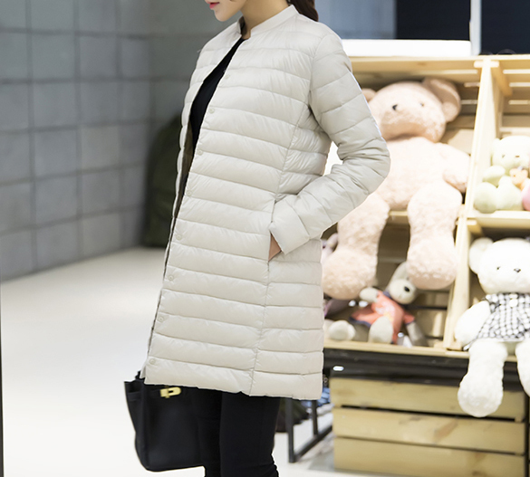 Woman Spring Padded Warm Coat Ultra Light Duck Down Jacket Long Female Overcoat Slim Solid Jackets Winter Coat Portable Parkas 2
