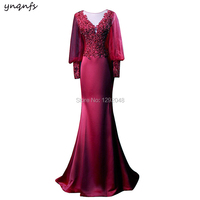 MD351 Mermaid Formal Dress Guest Wear Red Green Burgundy Mother of Bride Dresses Lace Outfits Long Sleeve 2019