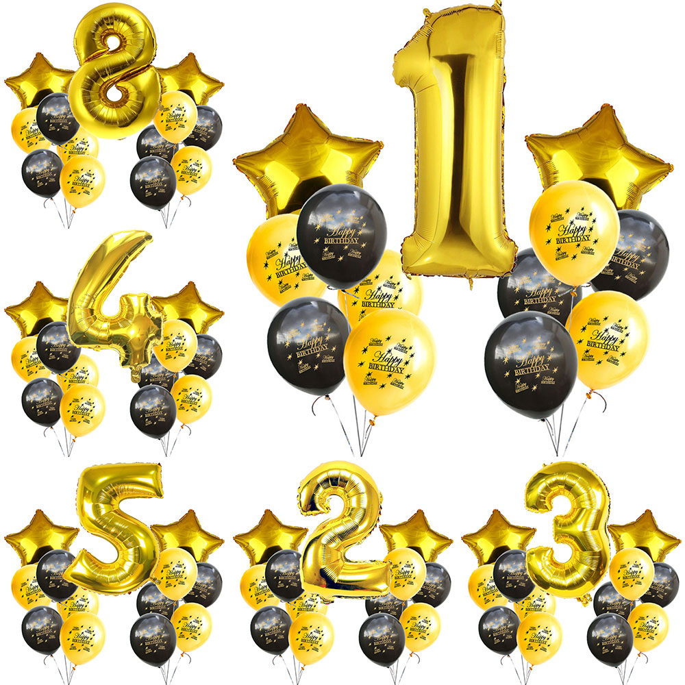 ZLJQ Happy <font><b>Birthday</b></font> Party <font><b>Decoration</b></font> Set 12/32 Inch Helium Balloon Number 0-9 1st 2nd <font><b>10</b></font> 20 30 40 50 Kit <font><b>Birthday</b></font> Party Supplies image