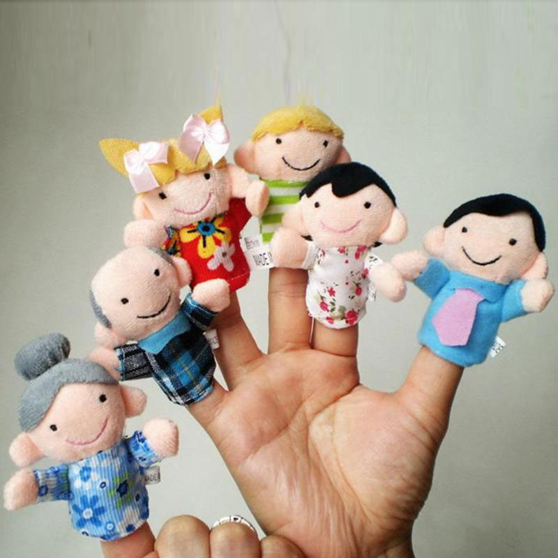 6pcs/lot Family Finger Puppets Toy Baby Mini Plush Cloth Dolls Children Story Telling Hand Toys Kids Educational Finger Puppets