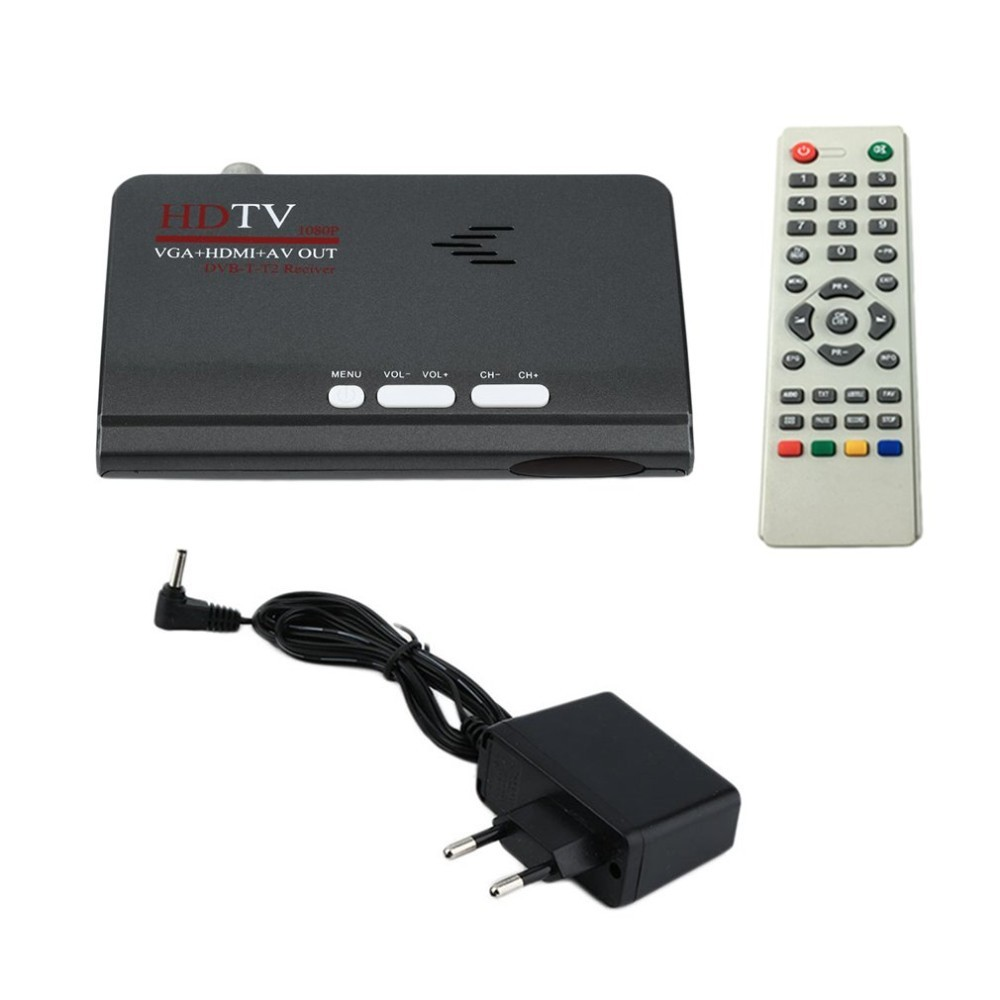 DVB-T DVB-T2 приемник цифрового наземного ТВ.  HDMI 1080 P DVB-T DVB-T2 VGA AV CVBS ТВ тюнер приемник с пультом дистанционного управления. Возможность подключения к монитору.