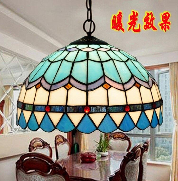 Средиземноморский Стиль Корона подвесной светильник Tiffany Спальня Гостиная лампа ресторан E27 110 240 v