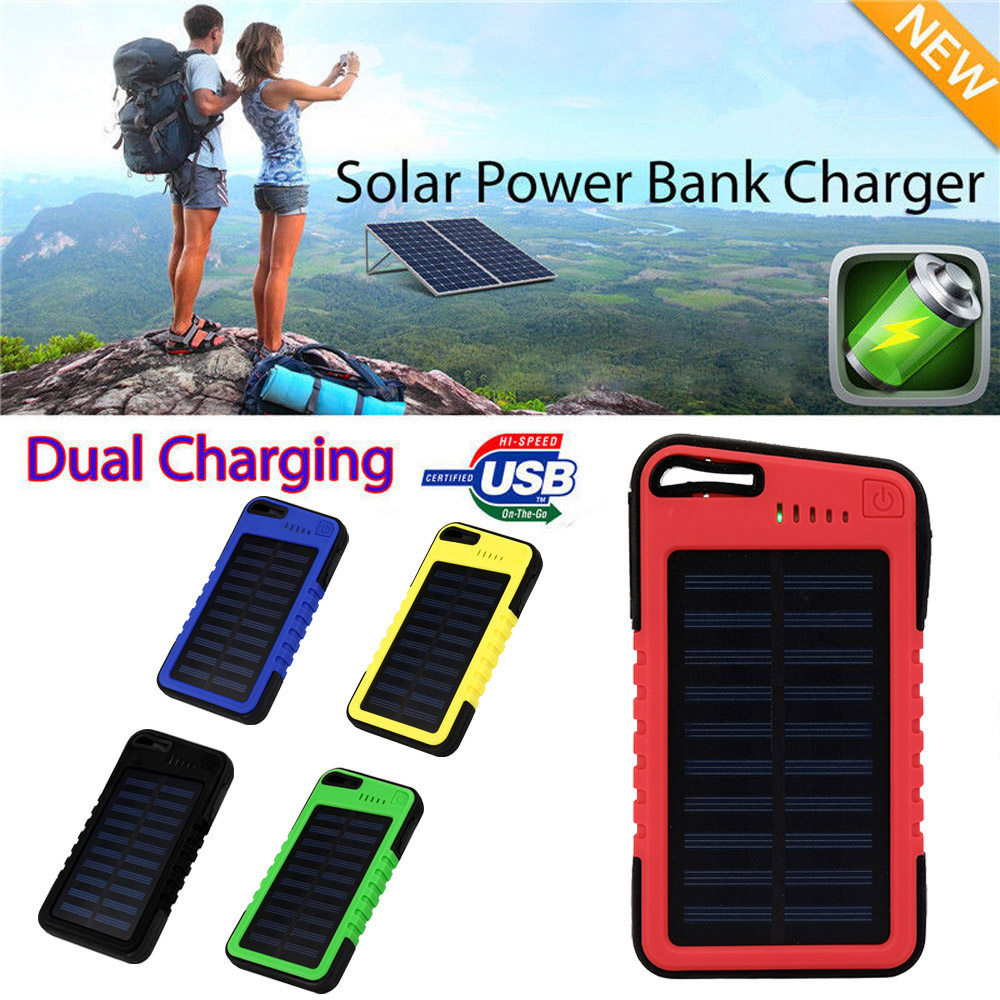 <font><b>6000mah</b></font> Dual-USB Waterproof Solar <font><b>Power</b></font> <font><b>Bank</b></font> Battery Charger For Cell Phone for Iphone 6S and 6S Plus for Samsung <font><b>xiaomi</b></font> image