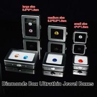Free Shipping Diamonds Box Ultrathin Jewel Boxes Matte Silver Metal Cassette Treasure Case Naked Stone Ring Noodles Cassette