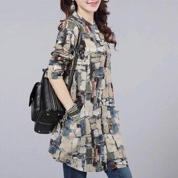 #2942 New 2020 Tie Dye Print Cotton Linen Long Shirt For Women Elegant Vintage Blouse Plus Size Retro Shirt Female Long Sleeve