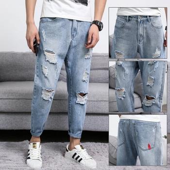 9da350c9d87 2019 новые свободные мужские джинсы больших размеров с зауженным низом
