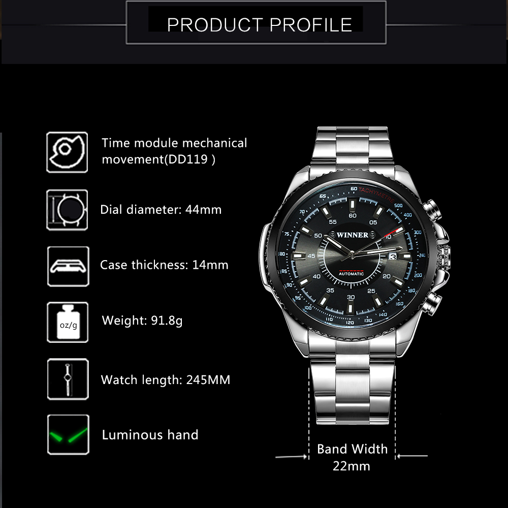 Image 2 - WINNER Official Business Automatic Mechanical Watch Men Date Display Top Brand Luxury Stainless Steel Strap Wristwatches 2019Mechanical Watches   -