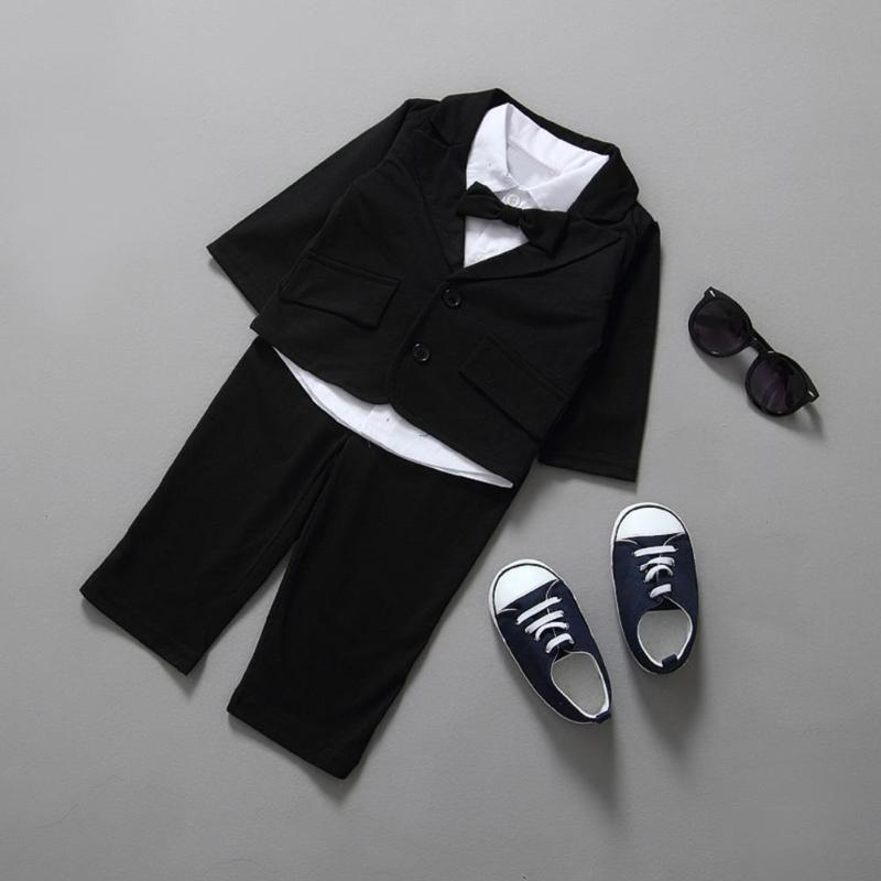 3pcs Kids Boys Bow Clothes Sets Gentleman Clothes Bowknot Shirt+ Lapel Coat +Pants For Birthday Party Wedding Boy Clothing