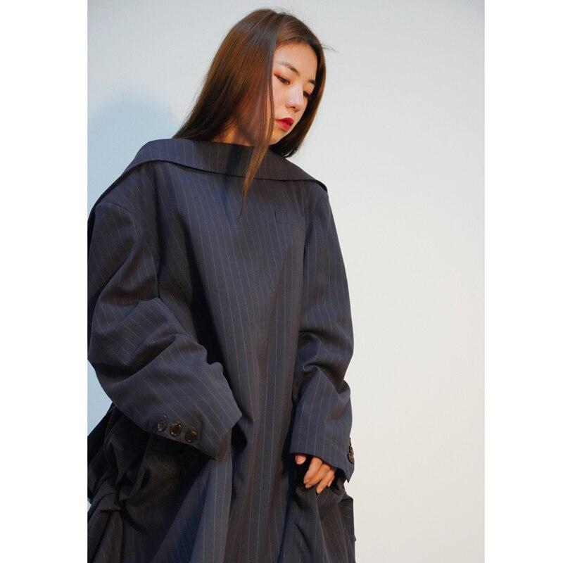 2019 Mode Vêtement De Printemps Manches Pleine Collar Pour Rayé Femme Grey Veste Unique Nu Dos Turn Dark Deat Wd71602l Costume Ruches Nouveau down dIxFXdA