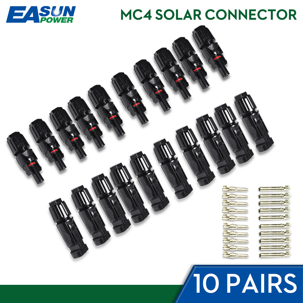 EASUN POWER 10Pairs X MC4 Connector Male Female Solar Connector MC4 Solar Panel Branch Series Connect For Solar Power System