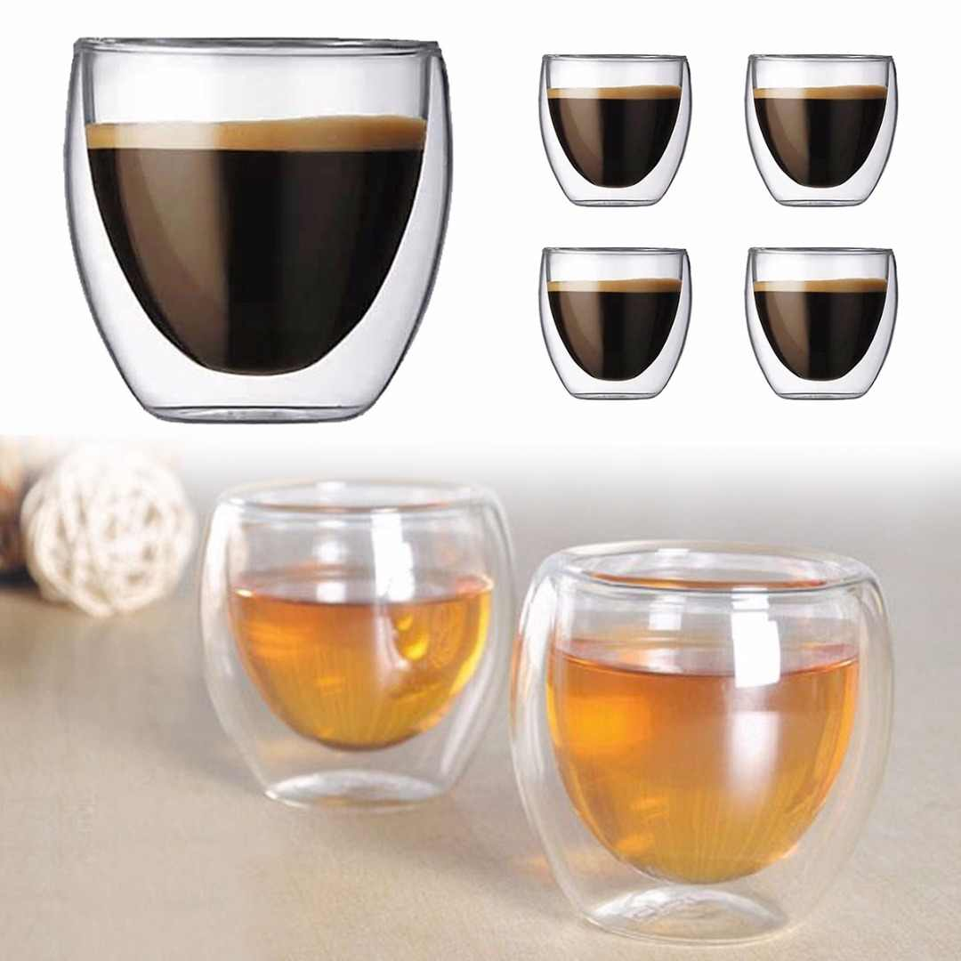 80ml Double Coffee Mugs Drinking Insulation Double Wall Glass Tea Cup Creative Gift Drinkware Milk