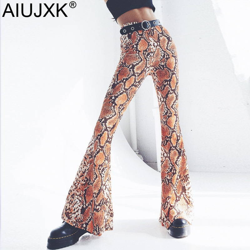 AIUJXK New 2019 High Waist Wide Flare Pants Snake Print Trousers Women Streetwear Bodycon Slim Elastic Casual Female SCK12