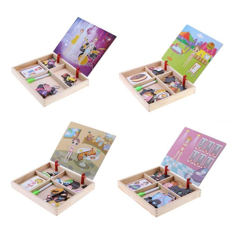 Cartoon Princess Clothes Magnetic Puzzle Wood Drawing Writing Board Children Kids Sketchpad Intellectual Educational Toys in Puzzles from Toys Hobbies