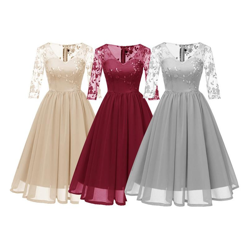 Elegant Embroidered Lace V-Neck Little Dress Waist Dress Fashionable Flare Dress Sexy Autumn And Winter New