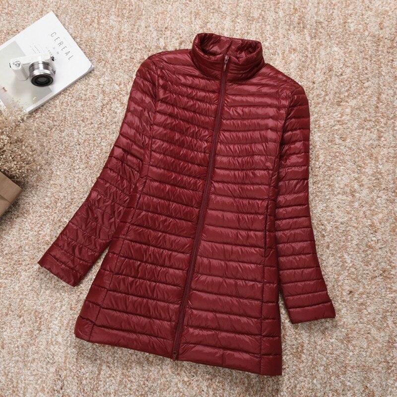 Nueva chaqueta de plumón larga de talla grande 6XL 7XL para mujer, chaqueta ultraligera de Invierno para mujer con un abrigo con cuello levantado Ls266 para mujer|Abrigos de plumón|   - AliExpress