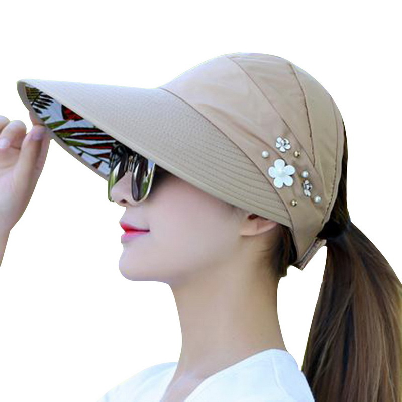 2018 New Summer Beach Women Sun Hats Uv Protection Pearl Packable Sun Visor Hat With Big Heads Wide Brim Female Cap Hot