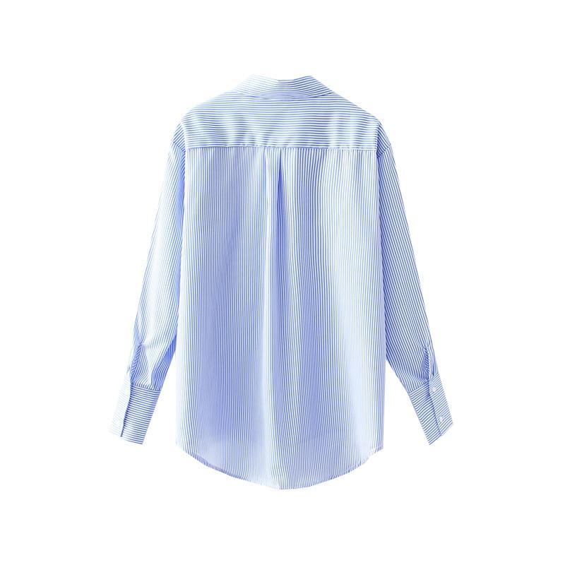 Chemise col rabattu épissé couleur contrastée Tweed rayé pleine boutonnage