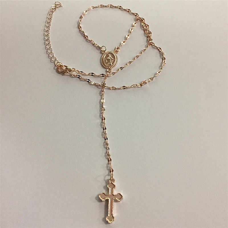 聖母マリアクロスネックレスの女性のジュエリーシルバーチョーカーネックレス女性ステートメントネックレスコリアーファム Collane ネックレス