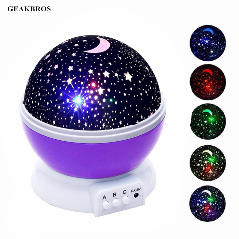 Novelty Luminous Toys Romantic Starry Sky LED Night Light Projector Battery USB Night Light Creative Kids Christmas Birthday Toy