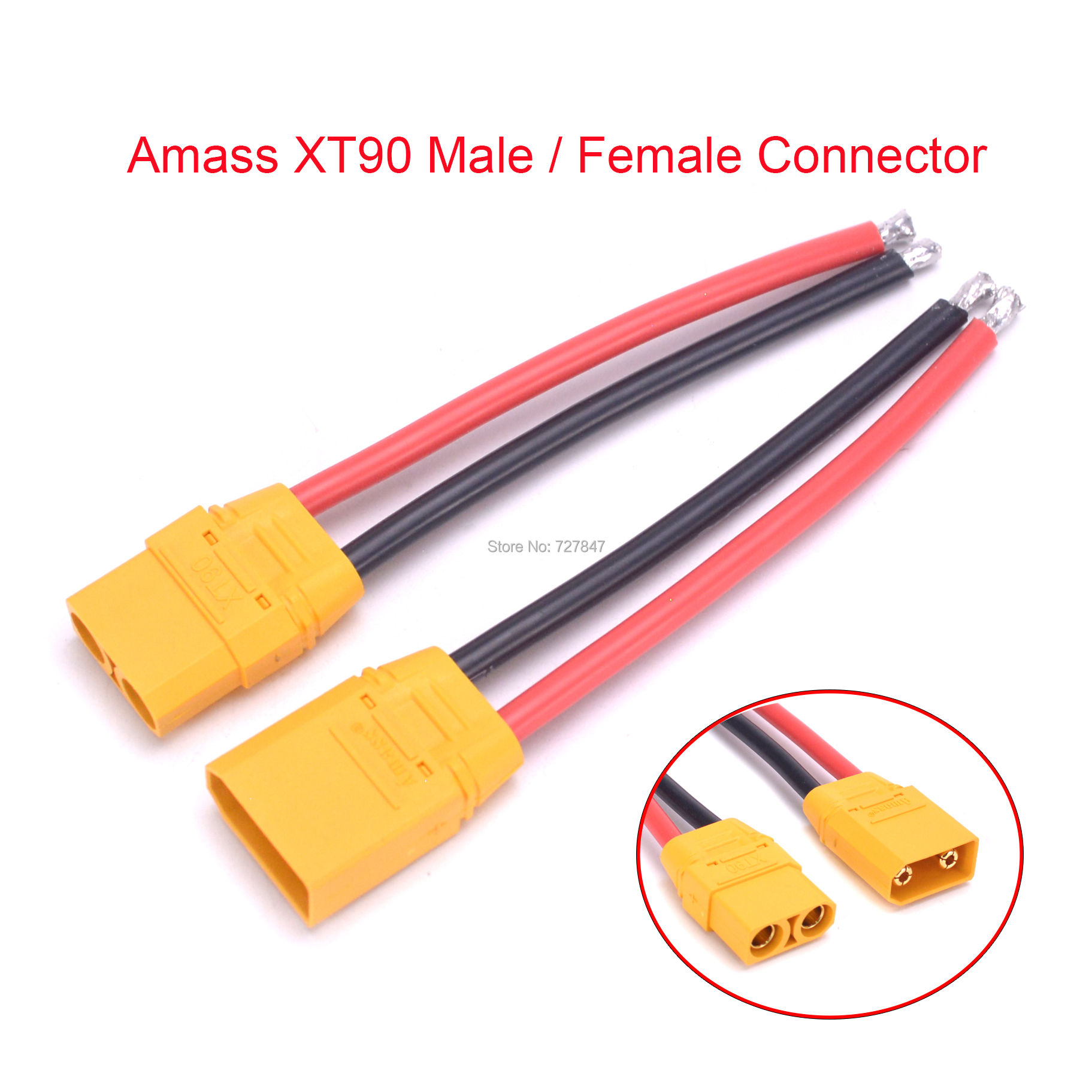 Amass XT90 XT 90 Connector Male Female Connector Plug RC Battery Cable With 90mm 12AWG Silicone Wire