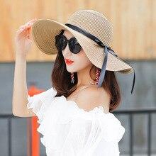 Mujer de paja de verano coreano pequeño fresco sombreros sombrero de sol  protector solar plegable SE 72775d08ca4