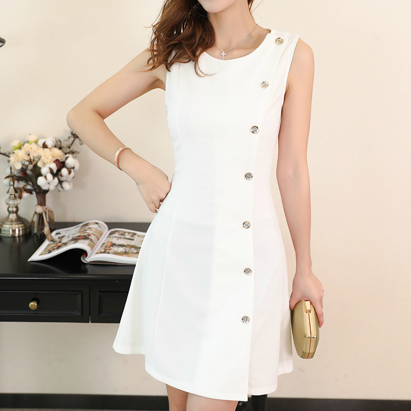 PEONFLY Summer Dress Women Sweet Solid Color Fashion Casual Style O Neck Sleeveless Dress Female Elegant Button Dress