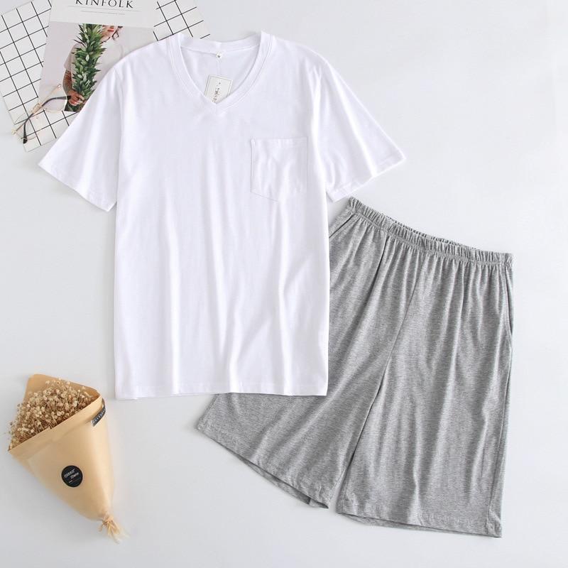 New Men's Thin Summer T-shirt Cotton Knitted Men Sleepwear Short Sleeve Top Shorts Free Combination Pajamas V-Neck Home Pyjamas