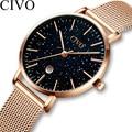 CIVO Luxus Top Marke Damen Uhr Frauen Gold Quarz Uhren Stahl Mesh Starry Sky Minimalistischen Einfache Wasserdichte Armbanduhr Uhr-in Damenuhren aus Uhren bei