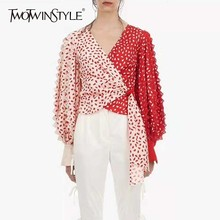 Blouse Women Crop-Tops Puff-Sleeve Spring Fashion Shirts Twotwinstyle Patchwork Lace-Print