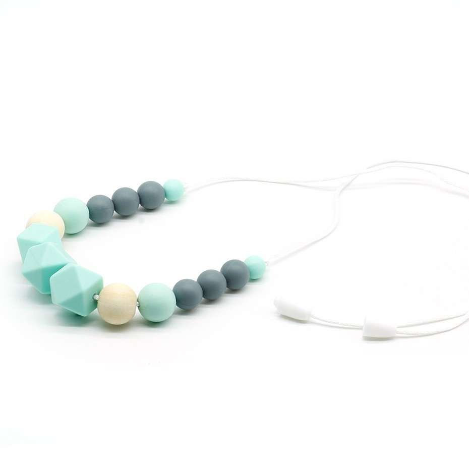 Infant Teething Baby Silicone Natural Wood Nursing Teether Necklace Toy BPA Free