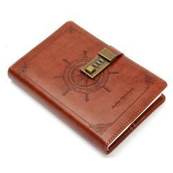 Kicute Винтаж штурвала коричневый кожаный журнал пустой дневник блокнот с пароль кодовый замок Офис школьные принадлежности канцелярские