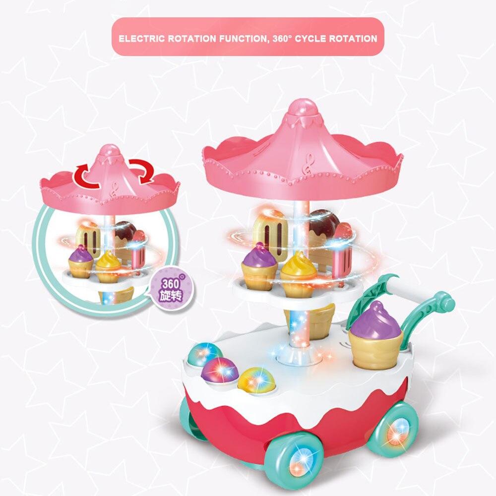Музыкальная тележка музыка мороженое игровой дом пластиковая игрушка музыка многоцветный светодиодный вращающийся мульти-функция коллекция новая игра